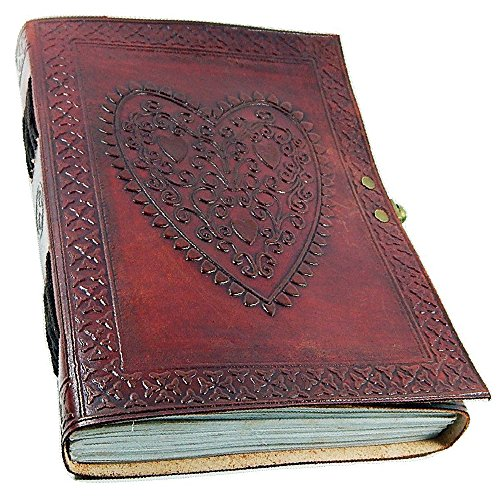 (Leather Journal Diary Heart Embossed Handmade Vintage Antique Notebook Notepad Sketchpad Gift for Men Women Christmas 7X5 inches Brown)