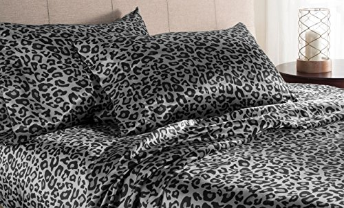 Leopard Satin Sheets - Elite Home Products Luxury Satin 100-Percent Poly Solid Sheet Sets, King, Snow Leopard