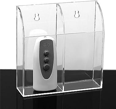 Zice - Soporte para control remoto de pared acrílico para aire acondicionado, caja de TV, estéreo 2 rejillas: Amazon.es: Electrónica