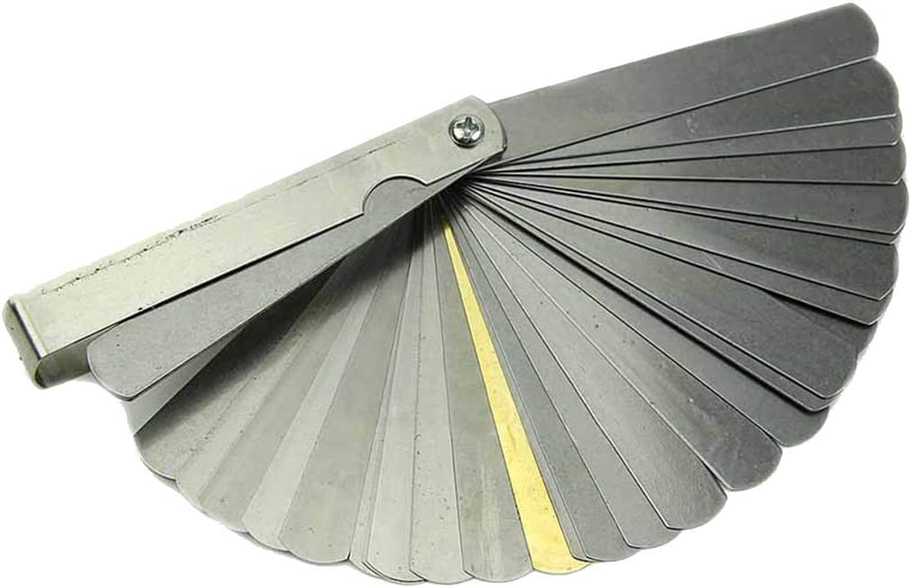 Guangcailun 32 Placas galga de espesores de Acero Inoxidable de Doble Lectura Combinaci/ón galga de espesores de 0,04 mm de Espesor para 0.88mm