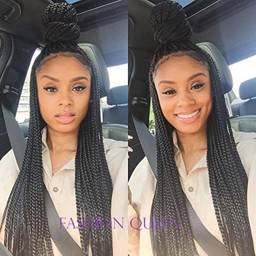 IberteHair Micro Braided Lace Front Wig Afro Long Synthetic Fully Hand Tied Twist Braided Wigs for Black Women (Color Jet black 18 (Braided Hair Wigs)
