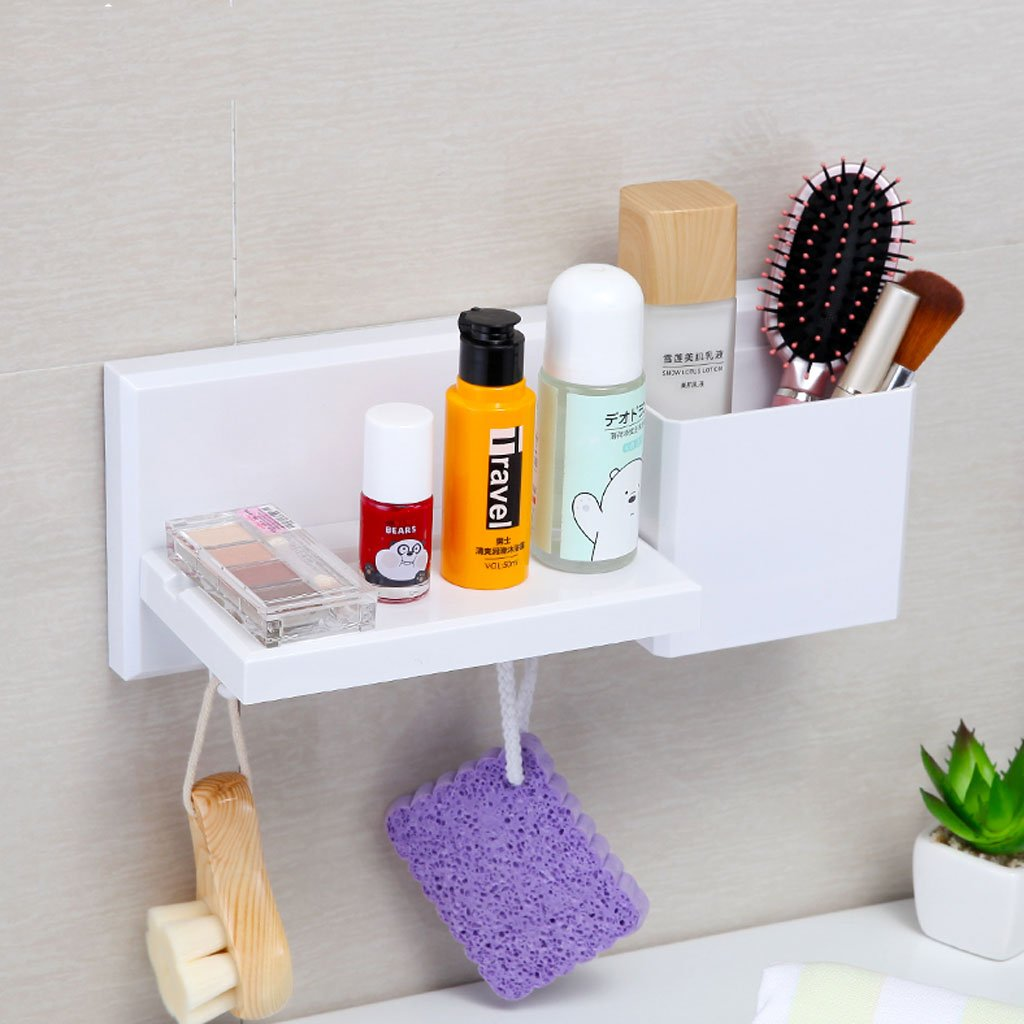 HY Punch-free Bathroom Shelf Health Home Suction Cup Vanity Storage Rack (Color : B)