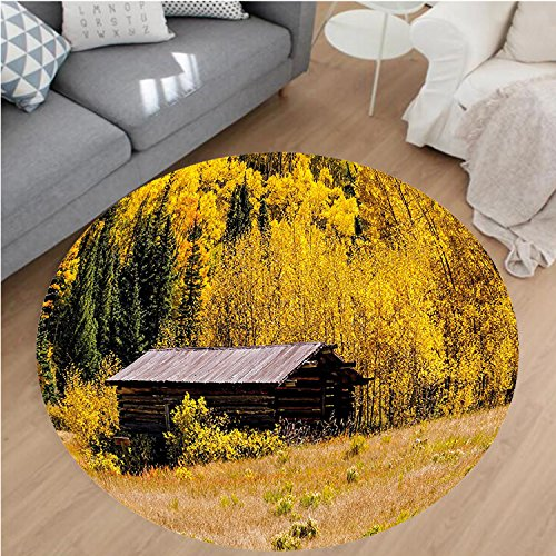 Nalahome Modern Flannel Microfiber Non-Slip Machine Washable Round Area Rug-stic Hut with Shedding Faded Leaf Autumn Fall Tree Meadow Provincial Picture Yellow Brown area rugs Home Decor-Round - The Hut Tucson