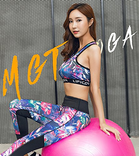 BELLEZIVA--Sujetador deportivo para mujer (Impreso floral, Respirable acolchado, diseño inalámbrico, yoga, fitness, gimnasia y pilates, sin aros) Multicolor