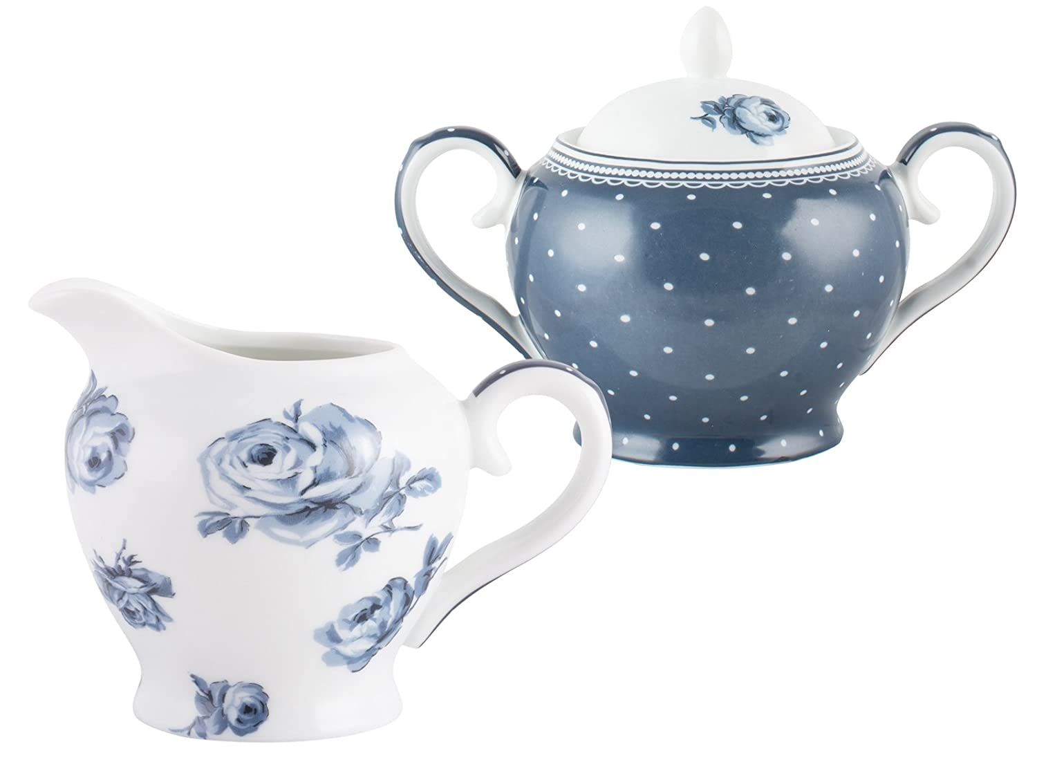 """Katie Alice """"Cottage Flower"""" Porcelain Sugar Bowl and Creamer Jug by Creative Tops, 9 x 9 cm (3½"""