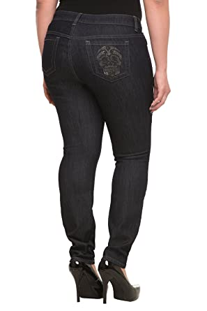 053f90b55f09d Image Unavailable. Image not available for. Color  Torrid Denim - Sophia  Rhinestone Skull Skinny Jeans