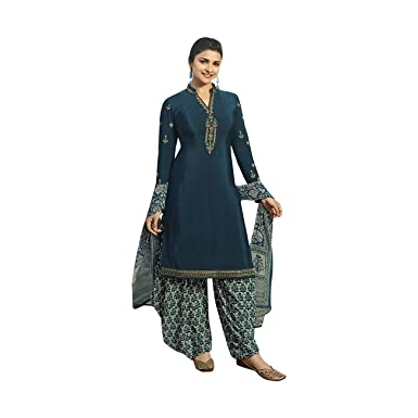 fb24ea8ec9 Amazon.com: ADINTERNATIONAL Adi Indian Ethnic Designer Party wear Patiyala Salwar  Suit Crepe Fabric Dress Straight Salwar Suit Embroidered Women Wear 1002:  ...