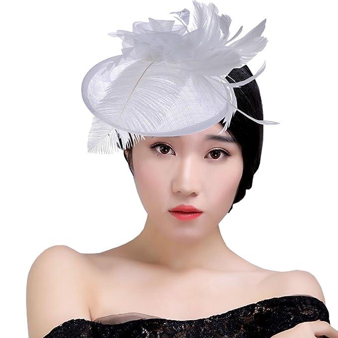 KAXIDY Donne Cappelli Eleganti Copricapo Cappelli Cerimonia Piuma Fiore  Partito Matrimonio Cappello Berrett (Bianco)