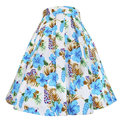 Modeway Womens Floral 1950s Retro Pleated Swing Skirts(Blue Flower,L) (Flower Cotton Elastic Waist Skirt)