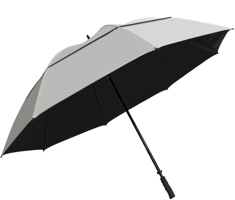 "SunTek 68"" UV Protection Windcheater Umbrella with Vented Canopy - Silver/Black"