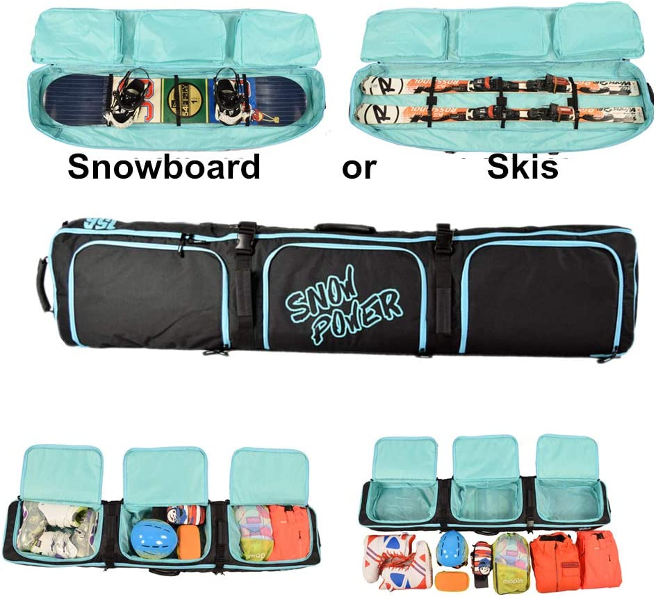 UNISTRENGH Padded Snowboard Bag with Wheels Single Snowboard and Snowboard Boots Travel Bag for Skis