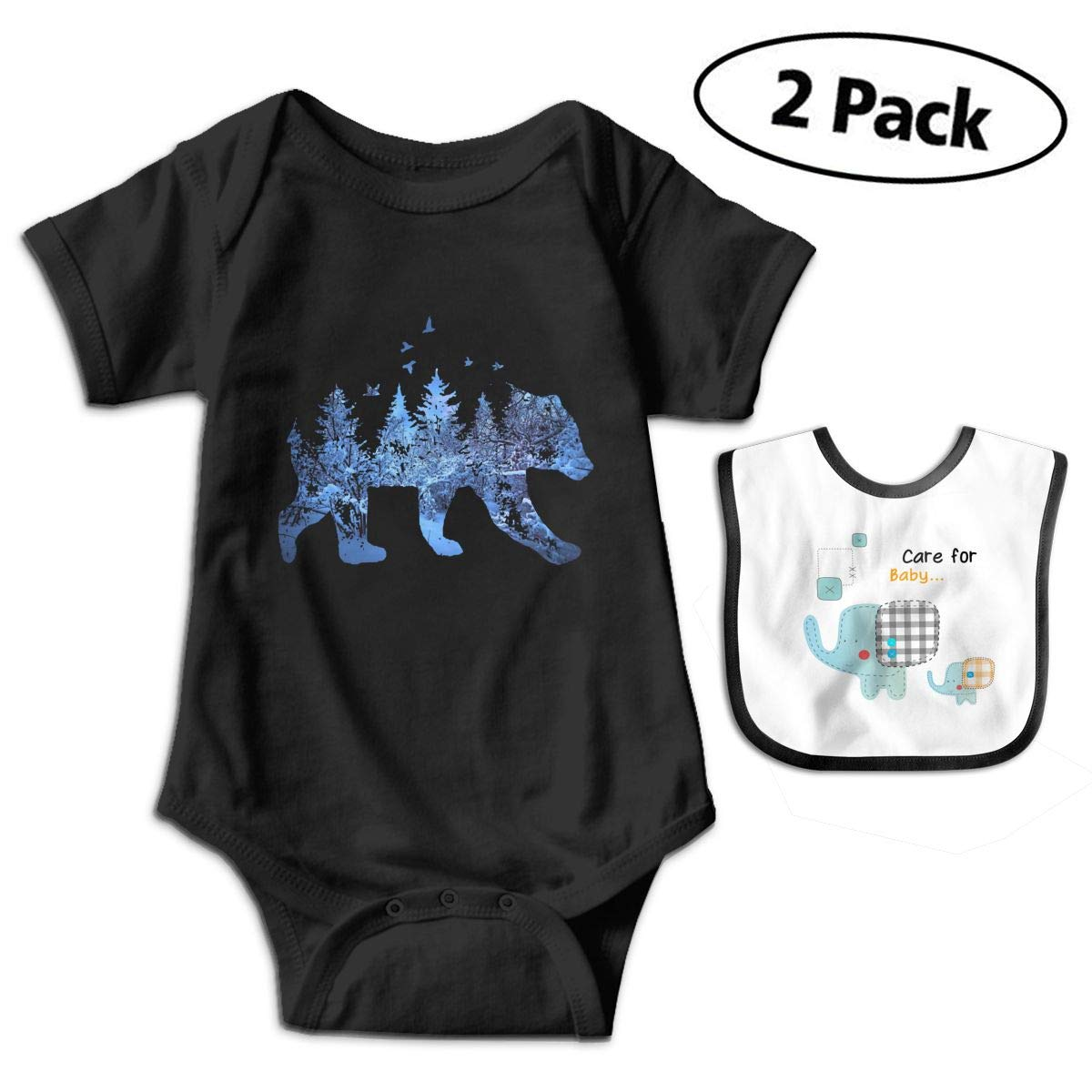 Psychedelic Forest Bear Birds Infant Baby Boys Girls Short Sleeve Romper Bodysuit Outfit Clothes
