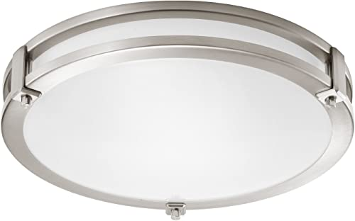 GetInLight LED Flush Mount Ceiling Light, 16-Inch, 25W 125W Equivalent , Brushed Nickel Finish, 4000K Bright White , Dimmable, Round, Dry Location Rated, ETL Listed, IN-0307-3-SN-40