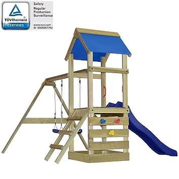 vidaXL Aire de Jeux avec échelle, Toboggan et balançoires en Bois ... 13c1f92ddcd6