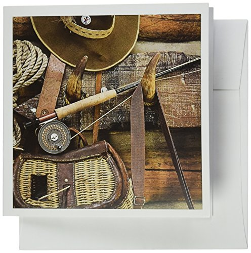 3dRose Montana. Fishing gear and hat, log cabin - US27 BJA0046 - Jaynes Gallery - Greeting Cards, 6 x 6 inches, set of 6 - Creel Hook