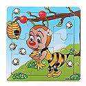 9ピースDIY木製Bee Puzzle Jigsawベビーキッズトレーニングおもちゃ