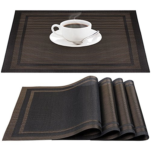 PVC Place Mats Heat-Resistant Non-slip Stain-resistant Washable Placemats, IHUIXINHE Woven Vinyl Double Border Table Mats, Set of 4 (Black)