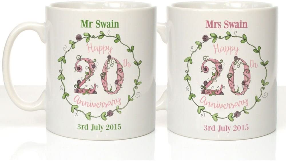 Personalised 20th China Illustrated Anniversary Mugs 20th Wedding Anniversary Gifts Amazon Co Uk Kitchen Home