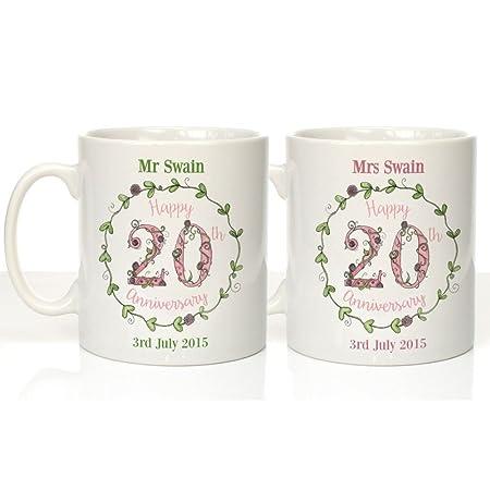 Personalised 20th China Illustrated Anniversary Mugs 20th Wedding