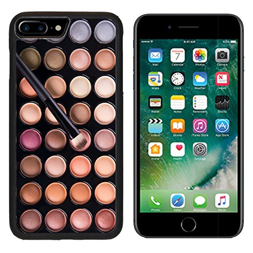 MSD Premium Apple iPhone 7 Plus Aluminum Backplate Bumper Snap Case Black palette of colorful eye shadows with brush IMAGE (Colorful Eyes)