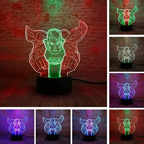 Price comparison product image 3D DC Comics Justice League Hero Superman Double-Mixed-Colored 7 Color Change Flash Mood Sleeping Boys Man Bedroom Livingroom Table Decor Light Child Kids Toys Gifts