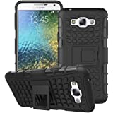 Heartly Flip Kick Stand Spider Hard Dual Rugged Armor Hybrid Bumper Back Case Cover For Samsung Galaxy E7 SM-E700F Dual Sim - Rugged Black