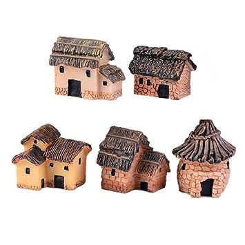Danmu Art 5 Piezas (5 Estilos) Mini Resina Primitiva Tribal Casa Miniatura Casa Jardín