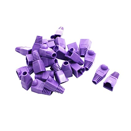 sourcing map 25 Piezas Morado Red Cable RJ45 Enchufe de Tapones embellecedores de Fundas para Conectores
