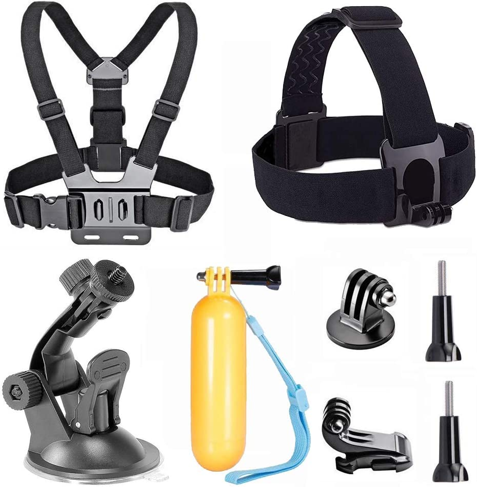 TEKCAM Action Camera Accessory Kits Compatible with Gopro Hero 8 7 6/AKASO EK7000 Brave 4 4K/Crosstour/Campark/APEMAN 4k Waterproof Camera with Head Strap Chest Harness Car Mount Floating Hand Grip