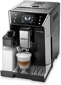 Delonghi super-automatic espresso coffee machine with an adjustable grinder, double boiler, milk frother maker for brewing espresso, cappuccino, latte, macchiato & flat white. ECAM55055SB PrimaDonna