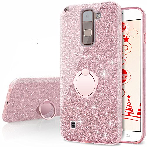 timeless design 13e6a 7c574 LG Stylo 2 V Case,LG Stylo 2/Stylo 2 Plus/Stylus 2 Glitter Case,Silverback  Girls Bling Glitter Case With 360 Rotating Ring Stand, 3 Layers Cover for  ...