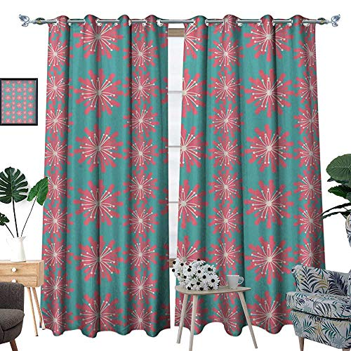 homehot Outdoor Window Curtain Drape Germinating Plants Wildflowers Twigs Sprouts Buds Lively Rustic Patio Print Decorative Curtains for Living Room Teal Pink White