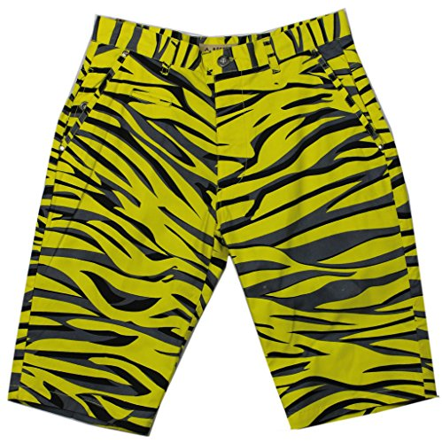 Access Men's Casual Slim Fit Colored Animal Print Chino Shorts Tiger-Yellow (Tiger Print Shorts)