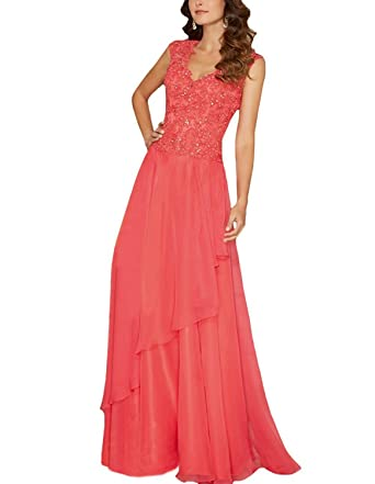11094398ee Lorderqueen Chiffon Long Mother of the Bride Dress Lace Evening Gowns 2  Coral