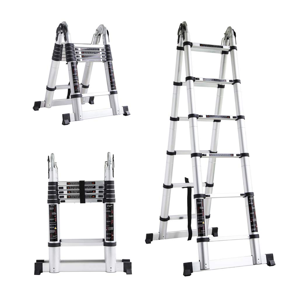 OGORI 3.8M Multi Purpose Auminium Folding Telescopic DIY Extendable Ladder (3.8M)