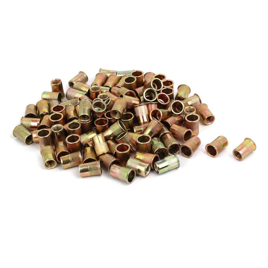 uxcell M6x14mm Metal Flat Head Knurled Body Rivet Nut Insert Nutserts Bronze Tone 100pcs
