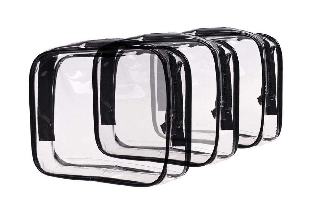 Louise Maelys 3 Packs Clear Cosmetics Bag Waterproof Travel Bag Toiletry Organizer Case Medium