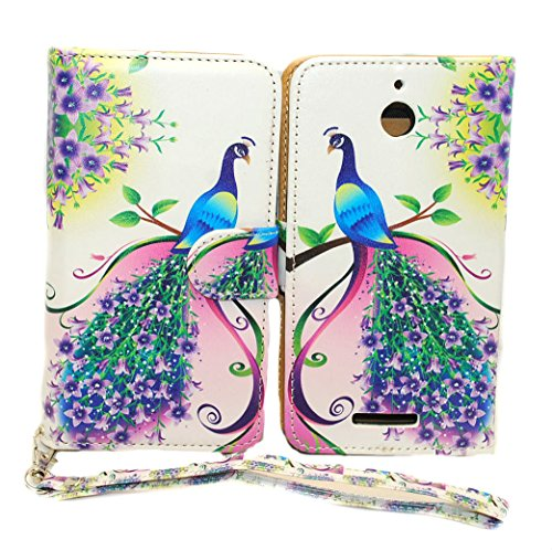 Purple & Pink Peacock Design Wallet Leather Case for HTC Desire 510 with Kickstand