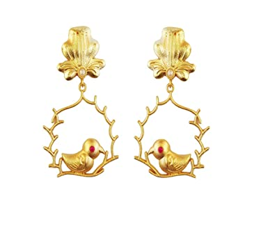 ab3cd110497b4 Jia Lifestyle - Frosted Beautiful Earring 24K Gold plated for Women, ladies,  Girls Fancy