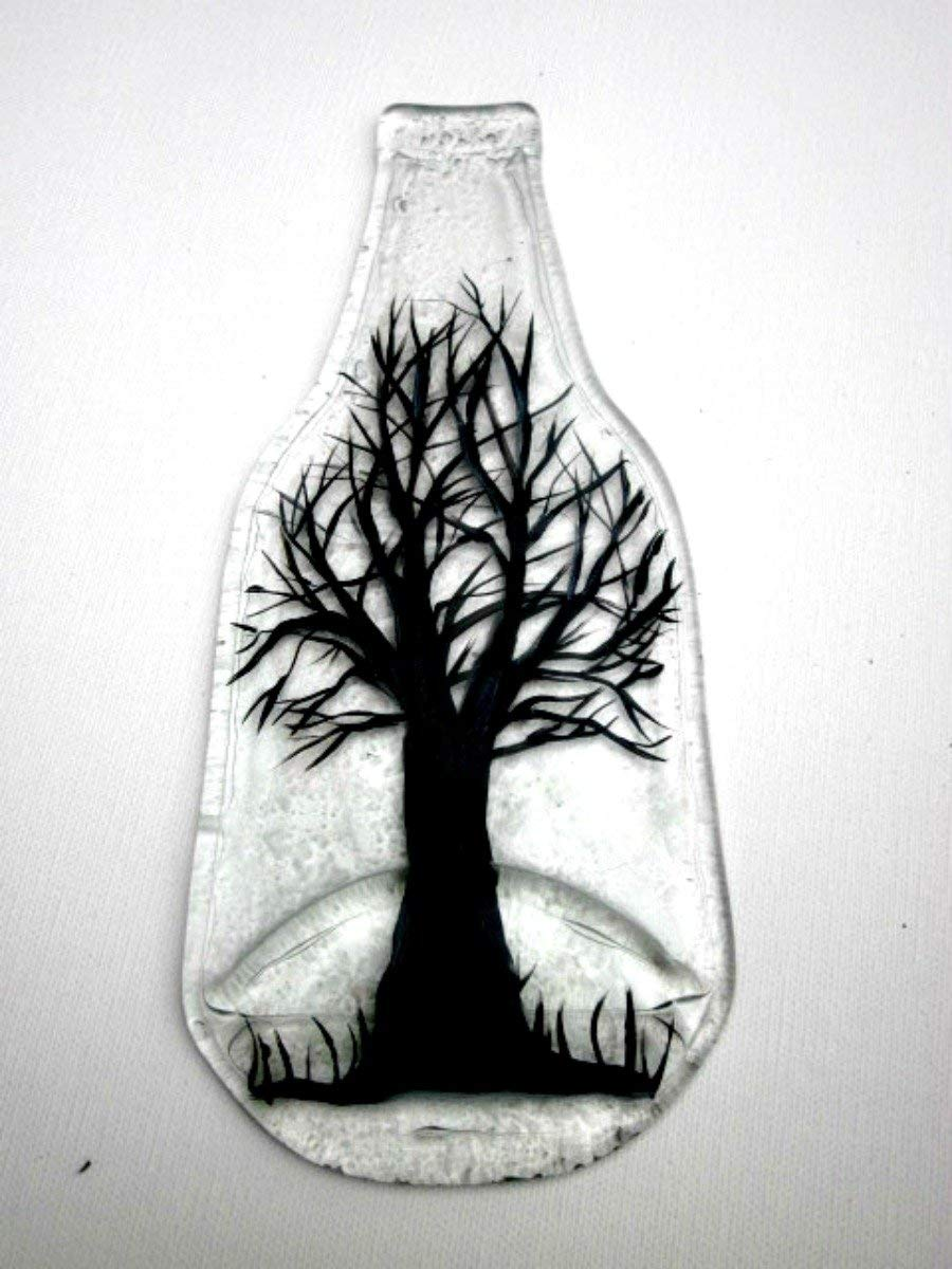 Amazon Com Melted Bottle Spoon Rest Kitchen Trivet Recycled Clear Glass Bottle Hand Painted Black Tree 9 X 3 5 Handmade