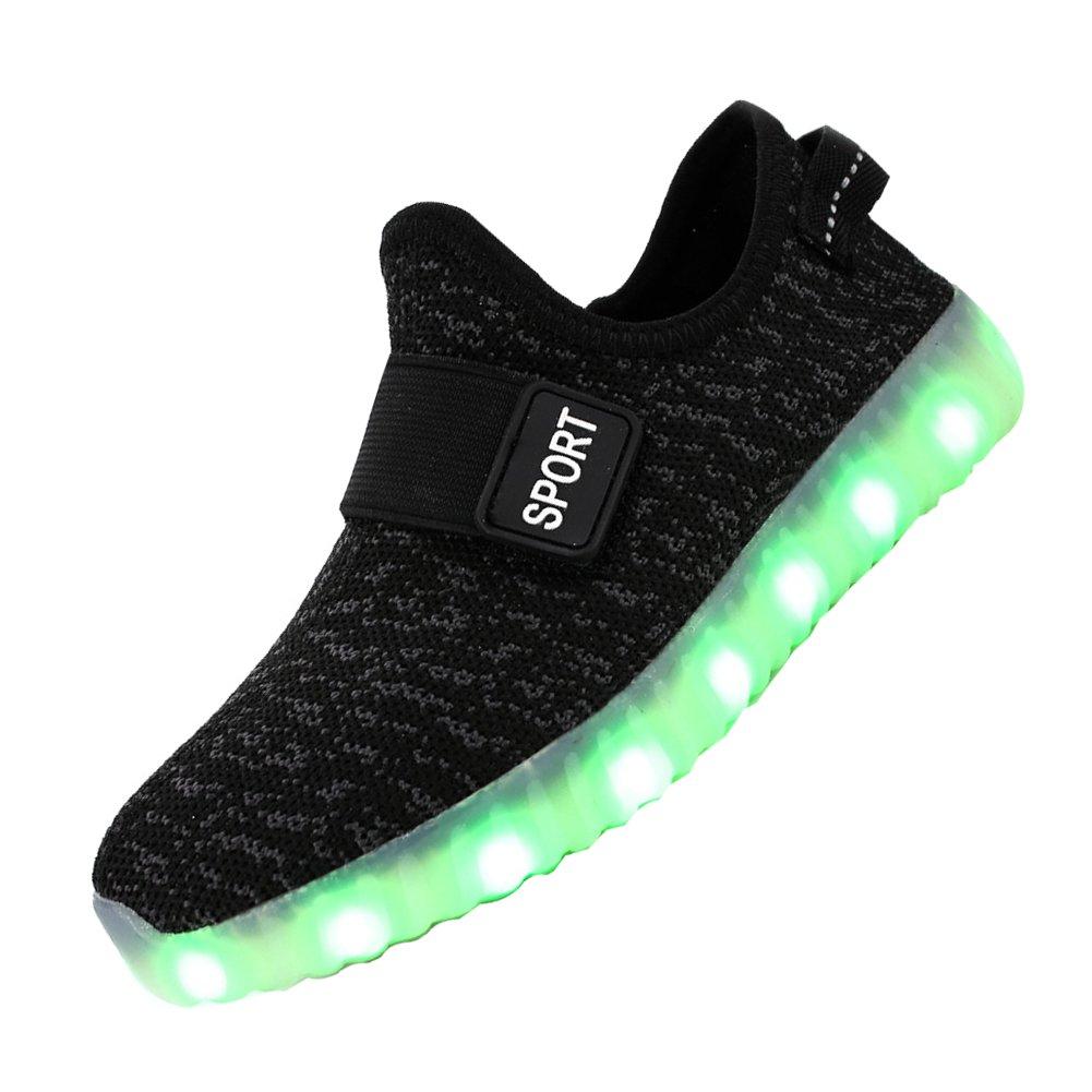 FASHOE Kids Boys Girls Breathable LED Light Up Shoes Flashing Sneakers-1009-02Black-30