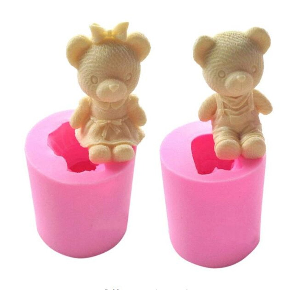 2pcs Bear Boy Girl Shape Silicone Soap Mold Fondant Cake Decorating Tools Sugarcraft Cake Chocolate Baking Mold Candle Making Moulds, Sugar Candle Craft Molds, Handmade Jello Jelly Mould Bakeware Pan VALINK