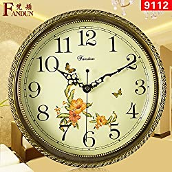 Y-Hui Large Solid Brass Antique Disk Wall Clock Living Room Brass Wall Clock Accessories Mute Bedroom Quartz Watches, 20-Inch (50.5 Cm) Diameter ,9112 Solid Brass Fittings