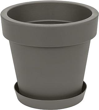 classique gris 50 cm diam Pot de fleur avec soucoupe en plastique Lofly