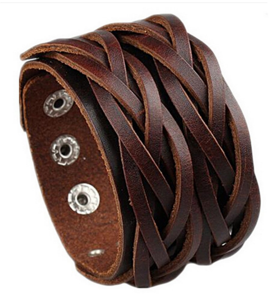 D'SHARK 1.8'' Double Braided Biker Leather Bangle Bracelet Cuff Wristband for Unisex - (Brown)