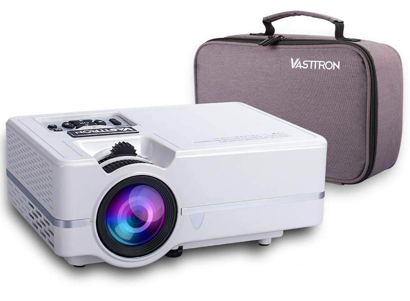 Vasttron Home Video Projector with Carrying Case and Tripod, 3200 Lux LED Mini Projector with 170'' and 1080P Support, Compatible with PS4, TV Sticks, PCs & Smartphones for Movie Theater and Gift by VASTTRON