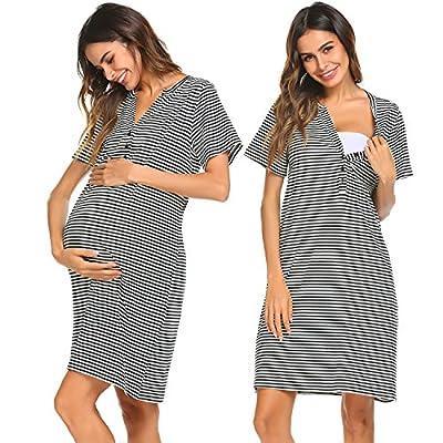 Ekouaer Women Short Sleeve Nightgown Striped Nursing Nightgown Breastfeeding Sleep Dress