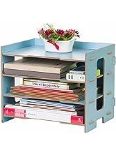 YUMU Rustic Wood Desk Organization for File Organizer Folders Desktop File Mail Sorter 4 Layers DH1044-02