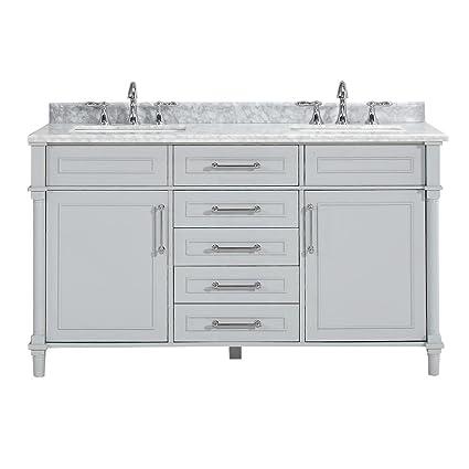 Home Decorators Aberdeen 60 Double Bath Vanity Grey Wmarble Top In