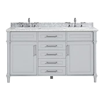 Home Decorators Aberdeen 60 Double Bath Vanity, Grey W/Marble Top In White